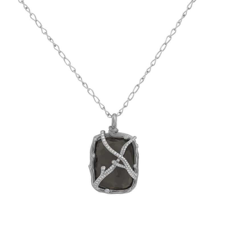 Michael Aram Enchanted Forest Pendant Necklace with Hematite Doublet and Diamonds