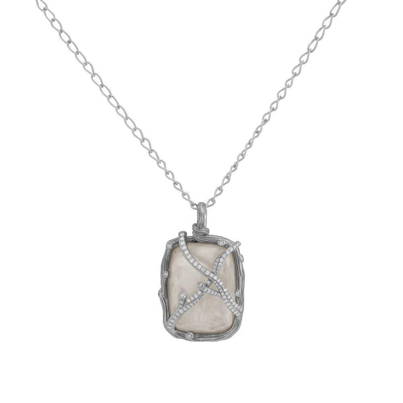 Michael Aram Enchanted Forest Pendant Necklace with Mother of Pearl Doublet and Diamonds