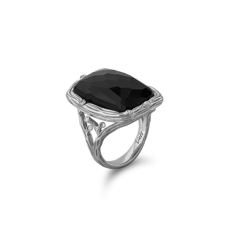 Michael Aram Enchanted Forest Ring with Hematite Doublet and Diamonds