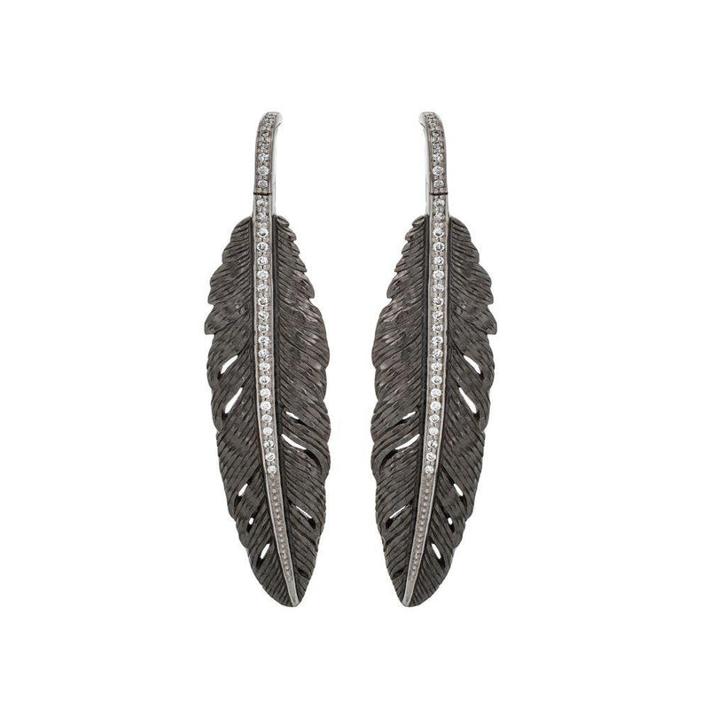 Michael Aram Feather 52mm Earrings with Diamonds