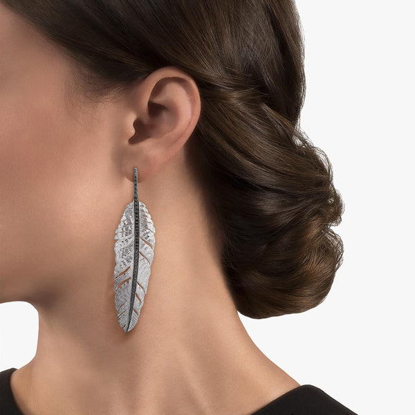 Michael Aram Feather 70mm Earrings with Diamonds