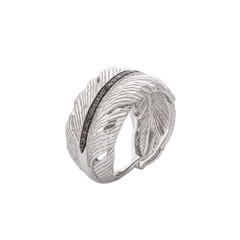 Michael Aram Feather Cuff Ring with Diamonds