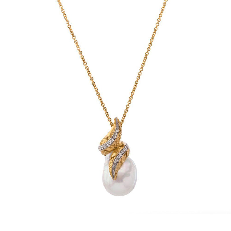Michael Aram Feather Wrap Necklace w/ Pearl & Diamonds in 18K Yellow Gold