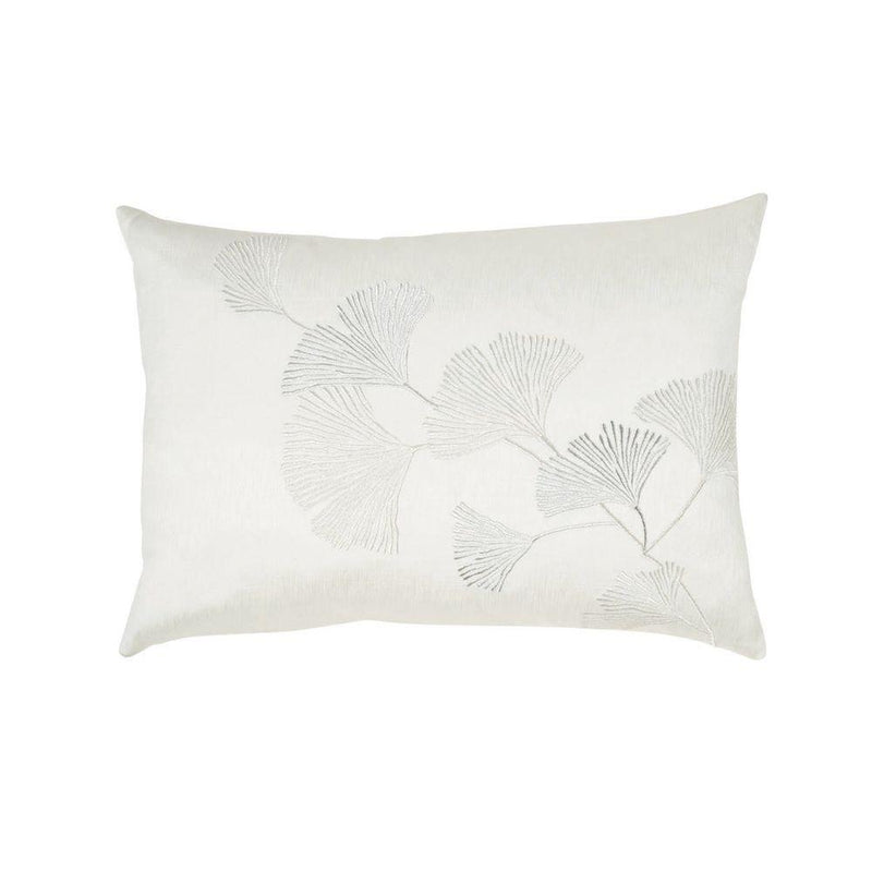 Michael Aram Ginkgo Leaf Embroidered Pillow - Ivory / Silver