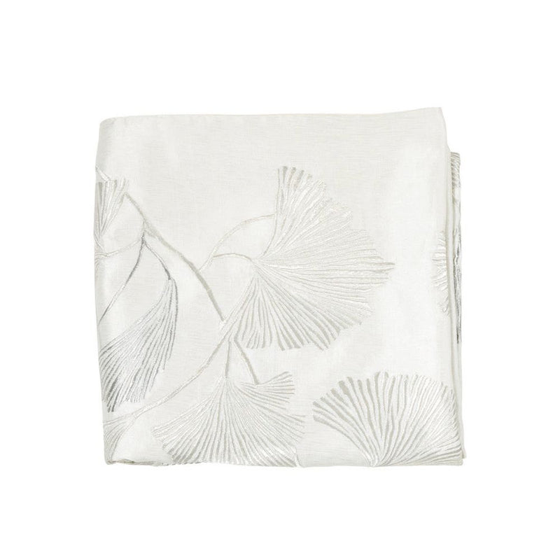 Michael Aram Ginkgo Leaf Embroidered Throw - Ivory / Silver
