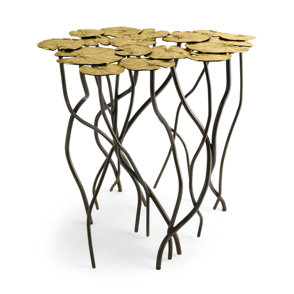 Michael Aram Gold Lily Pad Accent Table