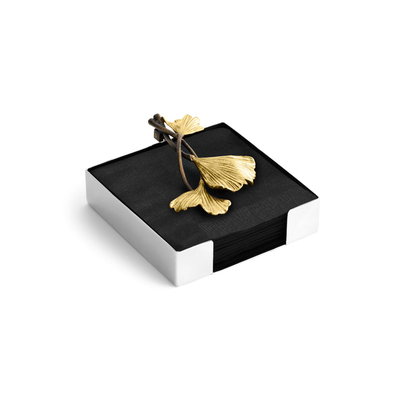 Michael Aram Golden Ginkgo Cocktail Napkin Holder