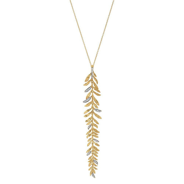 Michael Aram Laurel Leaf Drop Necklace with Diamonds
