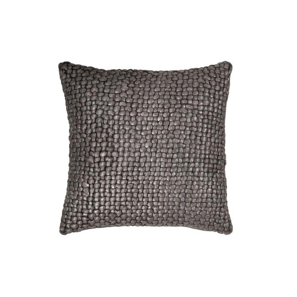 Michael Aram Metallic Palm Basketweave Pillow - Charcoal / Pewter