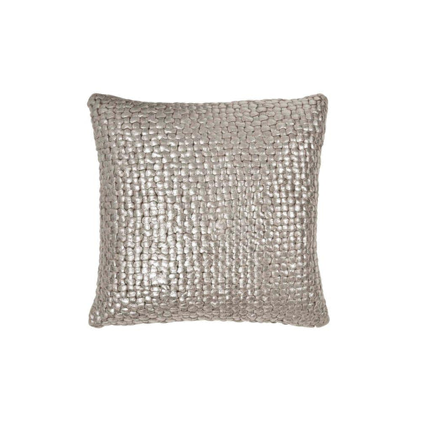 Michael Aram Metallic Palm Basketweave Pillow - Linen / Silver