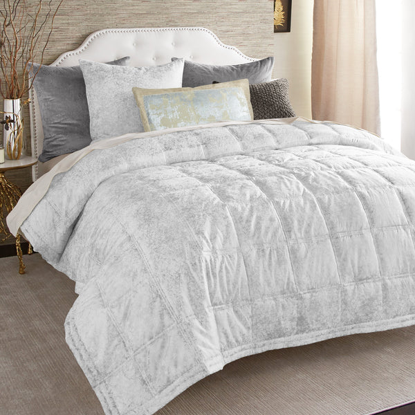 Michael Aram Metallic Textured Coverlet Silver
