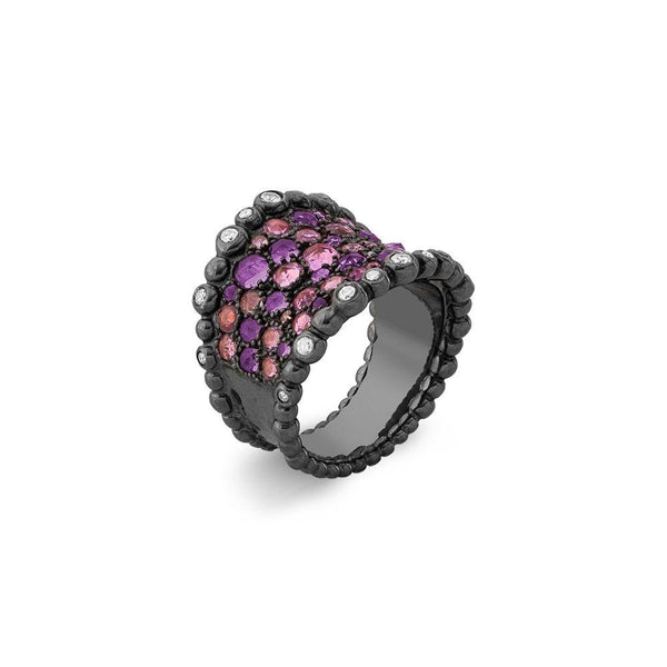 Michael Aram Molten Cuff Ring with Pink Sapphire, Amethyst and Diamonds