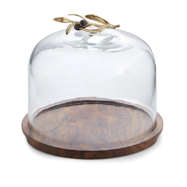 Michael Aram Olive Branch Glass Dome w/ Wood Base