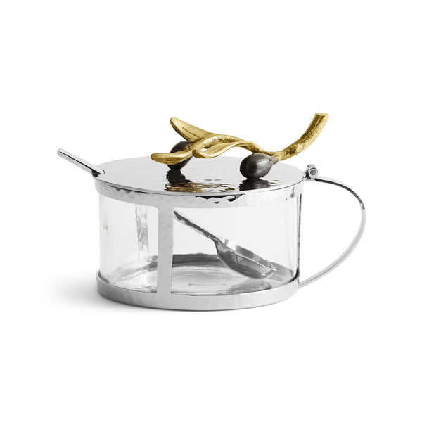 Michael Aram Olive Branch Gold Condiment Container w/ Spoon