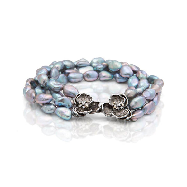 Michael Aram Orchid 4 Strand Bracelet w/ Grey Pearl & Diamonds in Black Rhodium Sterling Silver