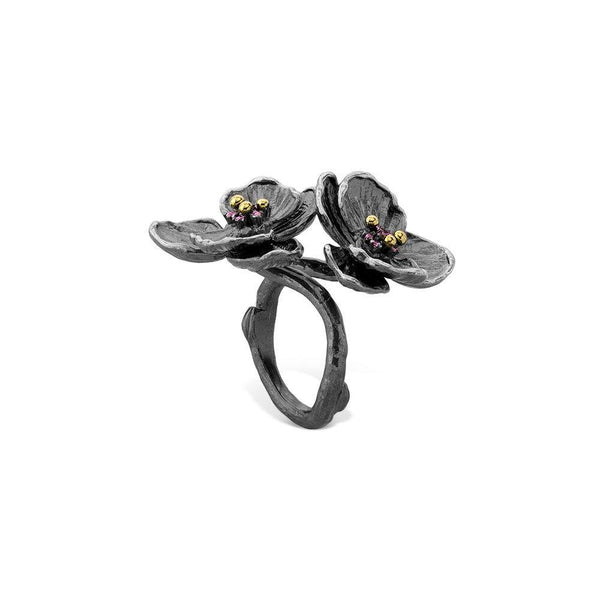 Michael Aram Orchid Double Ring w/ Pink Sapphire In Black Rhodium Sterling Silver
