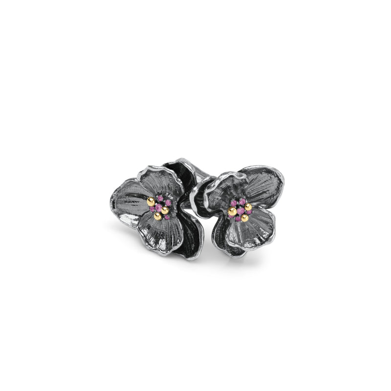 Michael Aram Orchid Double Ring with Diamonds and Pink Sapphire
