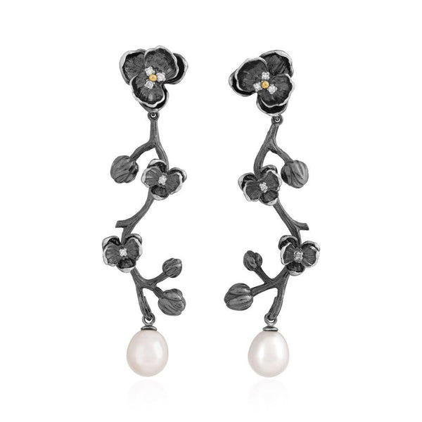 Michael Aram Orchid Earrings with Pearls and Diamonds
