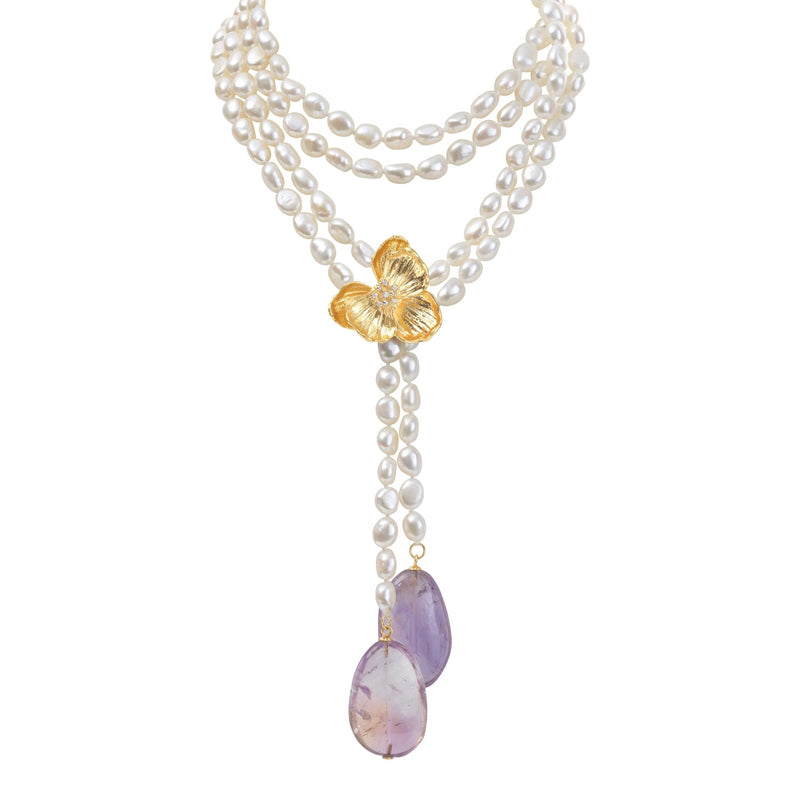Michael Aram Orchid Lariat Necklace with Pearls, Ametrine and Diamonds