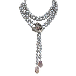 Michael Aram Orchid Lariat Necklace with Pearls, Ametrine and Pink Sapphire