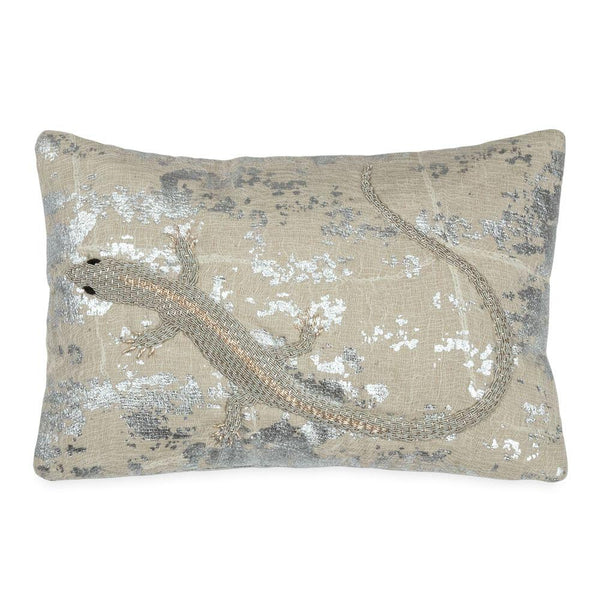 Michael Aram Palm Lizard Decorative Pillow - Silver