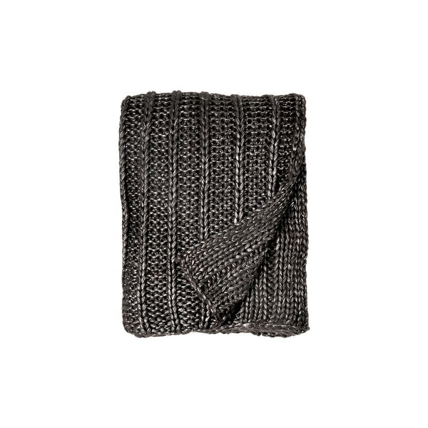 Michael Aram Rib Knit Throw - Charcoal / Silver