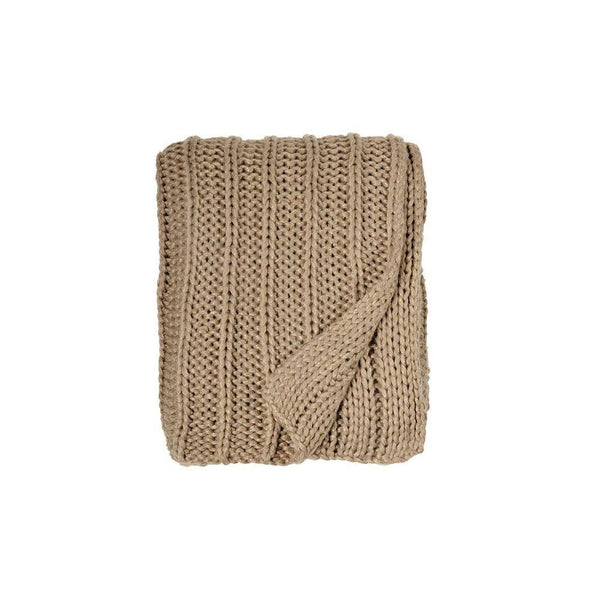 Michael Aram Rib Knit Throw - Golden Flax / Gold