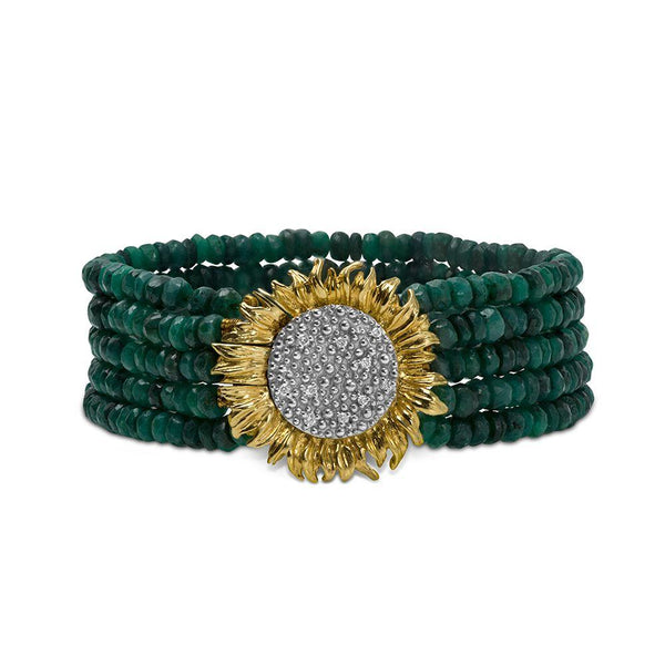 Michael Aram Vincent Multi Strand Bracelet with Emeralds and Diamonds