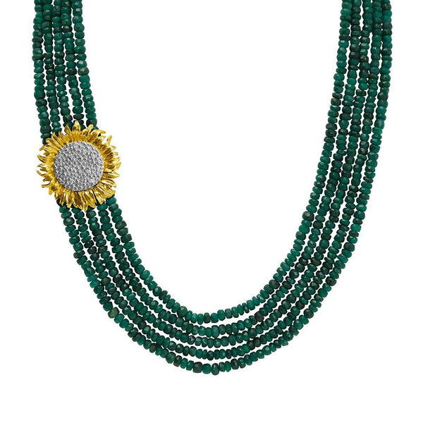 Michael Aram Vincent Multi Strand Necklace with Emeralds and Diamonds