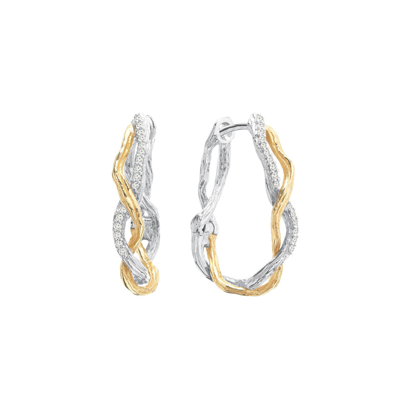 Michael Aram Wisteria Hoops 25mm in Sterling Silver & 18K with Diamonds