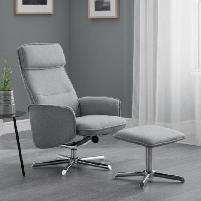 Aron Recliner Swivel Chair + Stool