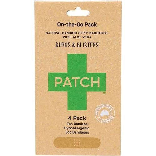 PATCH ON-THE-GO BURNS & BLISTERS - ALOE VERA ADHESIVE BANDAGES - 4 PACK