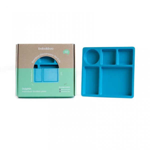 BOBO & BOO BAMBOO DIVIDED PLATE - DOLPHIN BLUE