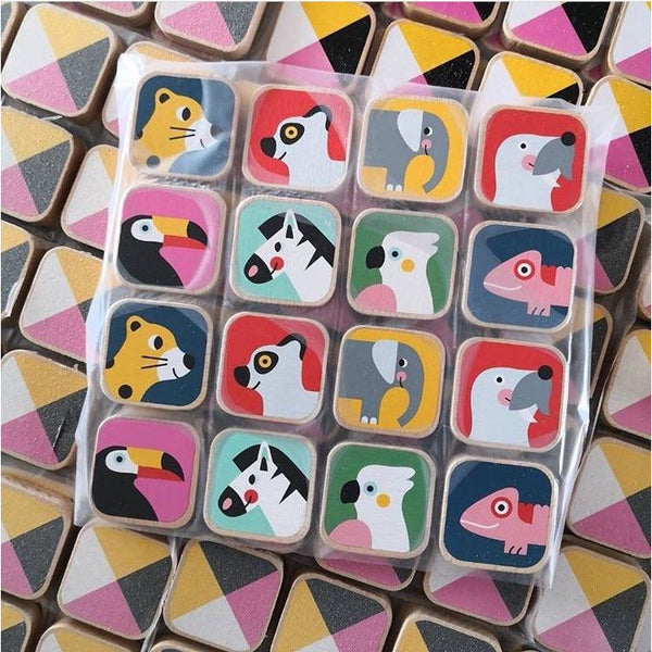 PETIT MONKEY WOODEN ANIMAL MEMORY GAME