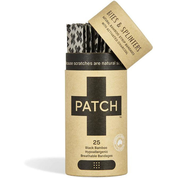 PATCH BITES & SPLINTERS - ACTIVATED CHARCOAL ADHESIVE BANDAGES TUBE OF 25