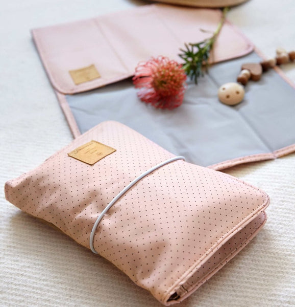 LÄSSIG GERMAN CHANGING POUCH / NAPPY WALLET - ROSE DOTS