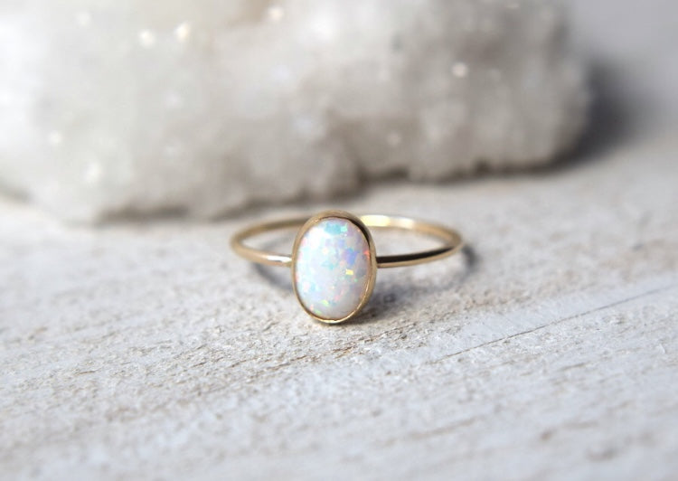 oval opal ring - Metalvine