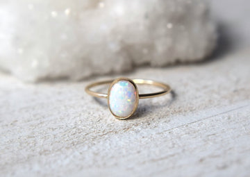 14k solid gold oval opal ring - Metalvine