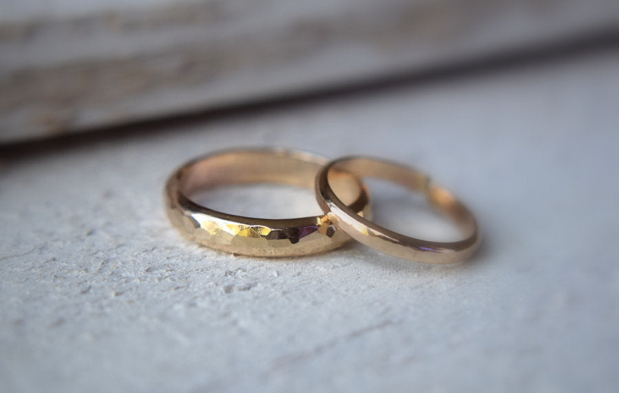 14k Solid Gold His and Hers Rings - Metalvine