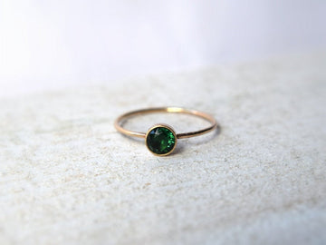Gold Emerald Ring- Emerald Ring- Emerald Engagement Ring- Emerald Gold Ring- Emerald Ring Gold- Stacking Emerald Ring - Metalvine