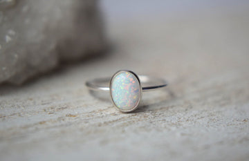 Sterling Silver Opal  Ring- Oval Opal Ring Silver- Gemstone Ring- Opal Ring- Stacking Ring- Dainty Opal Ring- Oval Ring Opal - Metalvine