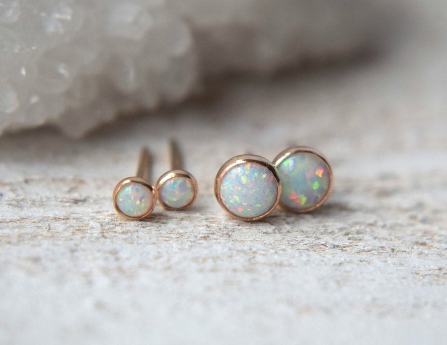 Opal Earrings- Opal Studs - Metalvine