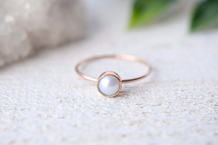 Pearl Ring- Pearl Ring Gold- Pearl Ring Rose Gold- Dainty Pearl Ring- Solid Gold Pearl Ring- Freshwater Pearl Ring - Metalvine