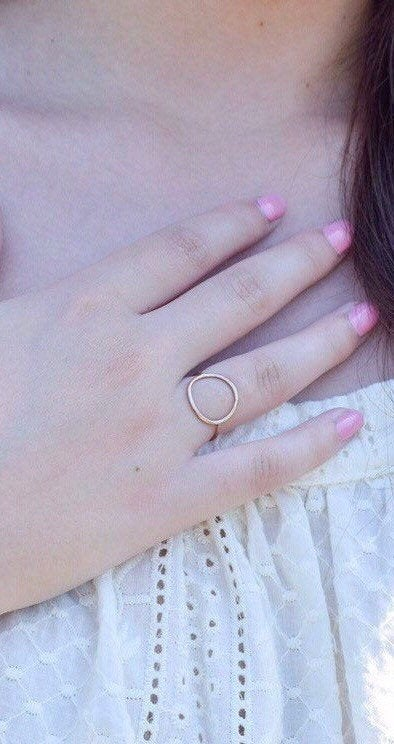 Open Circle Ring- Gold Circle Ring- Circle Ring Gold- Big Circle Ring- Circle Ring- Dainty Circle Ring- Open Circle Ring Gold - Metalvine