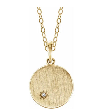 14k Diamond Initial Disc Necklace