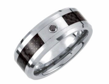 Carbon Fiber Men's Band. Men's Diamond Wedding Band