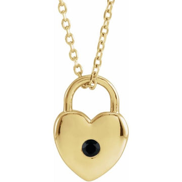 Black Spinel Heart Locket Necklace