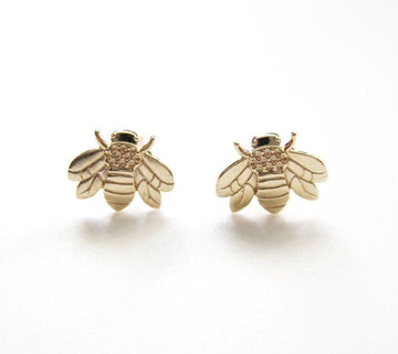 14k Bee Earrings - Metalvine