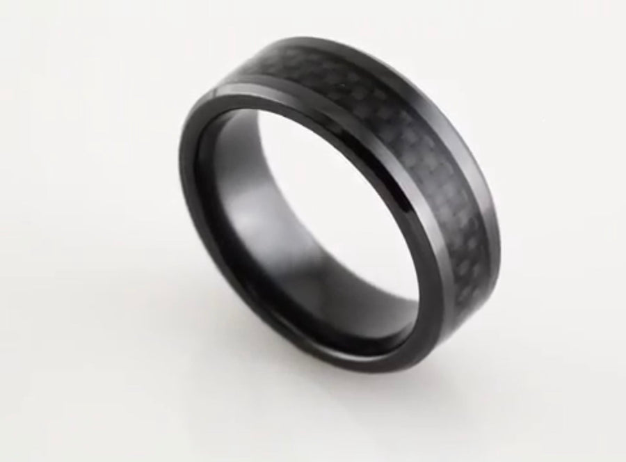 Black Titanium with Carbon Fiber Wedding Band