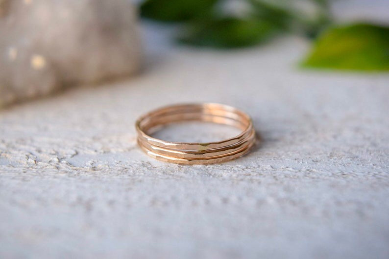 14k Solid Gold Stacking Rings - Metalvine